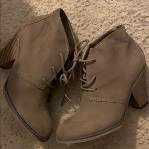 Brown suede lace boots